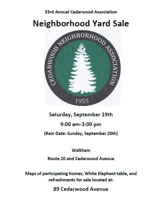 33rd Annual Cedarwood Association Neihborhood Yard Sale