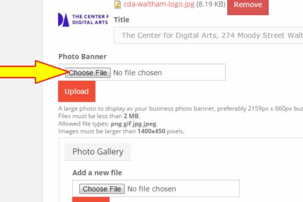 Repeat the same process for your photo banner. Note that photo banners do not have an image title