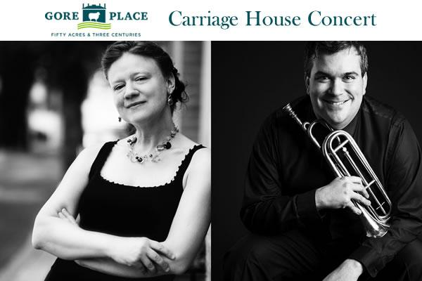 """Gore Place Carriage House Concert: Sylvia Berry and Christopher Belluscio — """"Across the Pond: Music for Historic Trumpet and Fortepiano"""""""