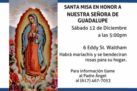 Santuario Waltham: Misa en honor a la Virgen de Guadalupe (Mass in honor of Our Lady of Guadalupe)