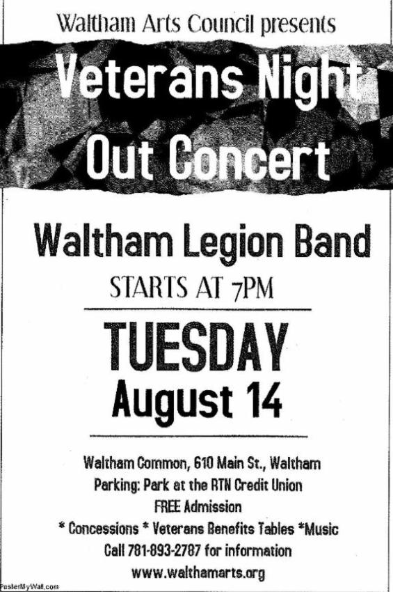 2018 Concerts on the Common: Waltham American Legion Band celebrating Veterans National Night Out